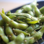 edamame tossed with aleppo peppers
